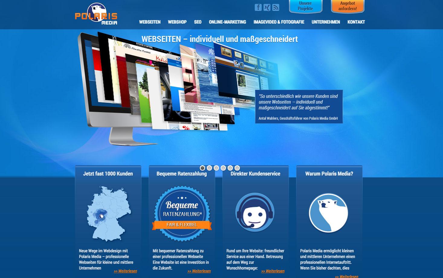 Webdesign für Polaris Media